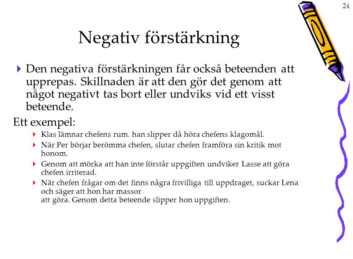 24 Negativ förstärkning  Den negativa förstärkningen får också beteenden att upprepas.