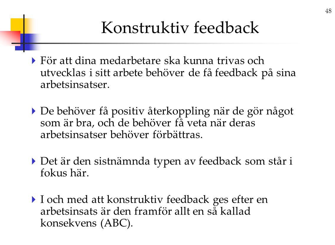 48 Konstruktiv feedback  För att dina medarbetare ska kunna trivas och utvecklas i sitt arbete behöver de få feedback på sina arbetsinsatser.