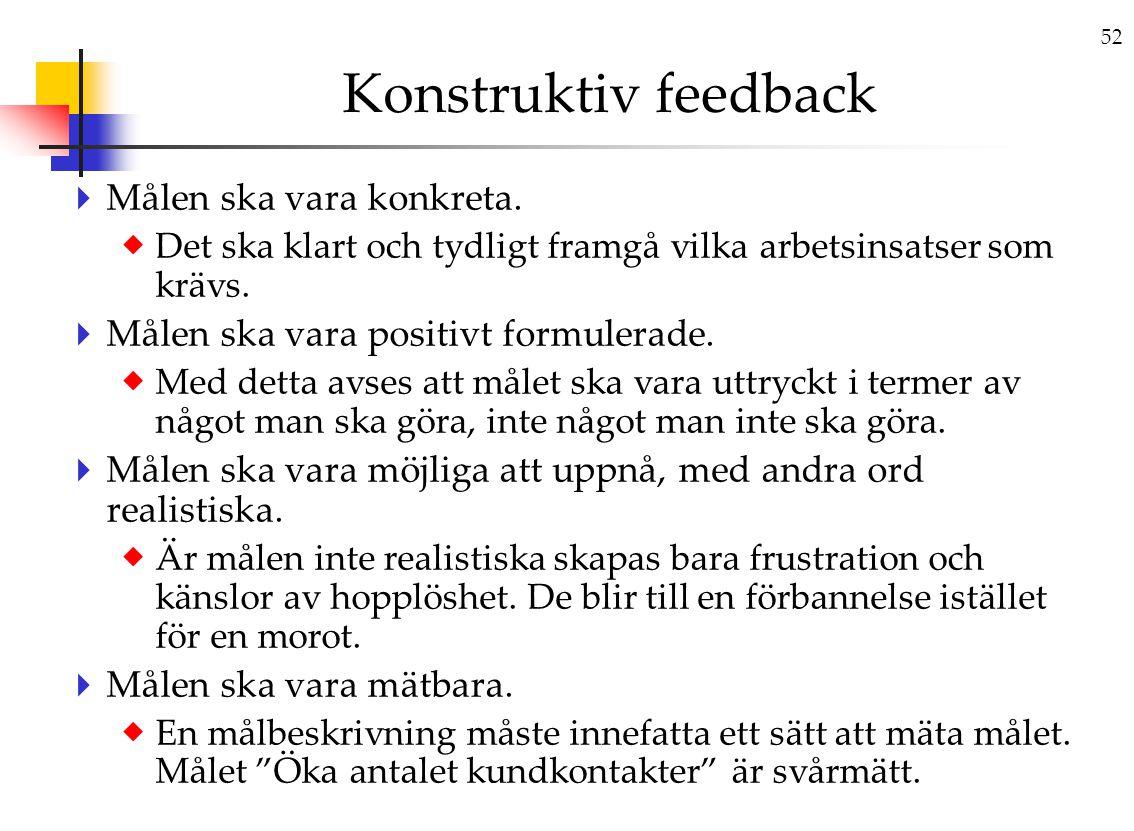 52 Konstruktiv feedback  Målen ska vara konkreta.