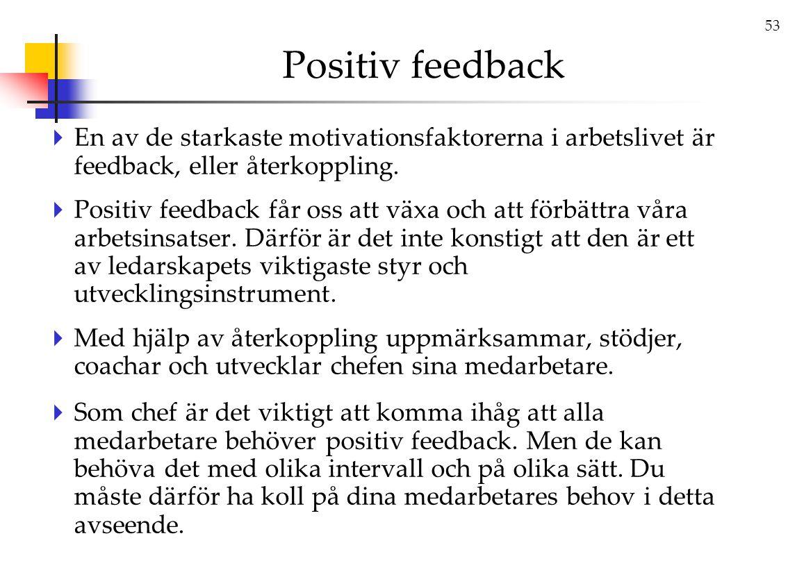 53 Positiv feedback  En av de starkaste motivationsfaktorerna i arbetslivet är feedback, eller återkoppling.