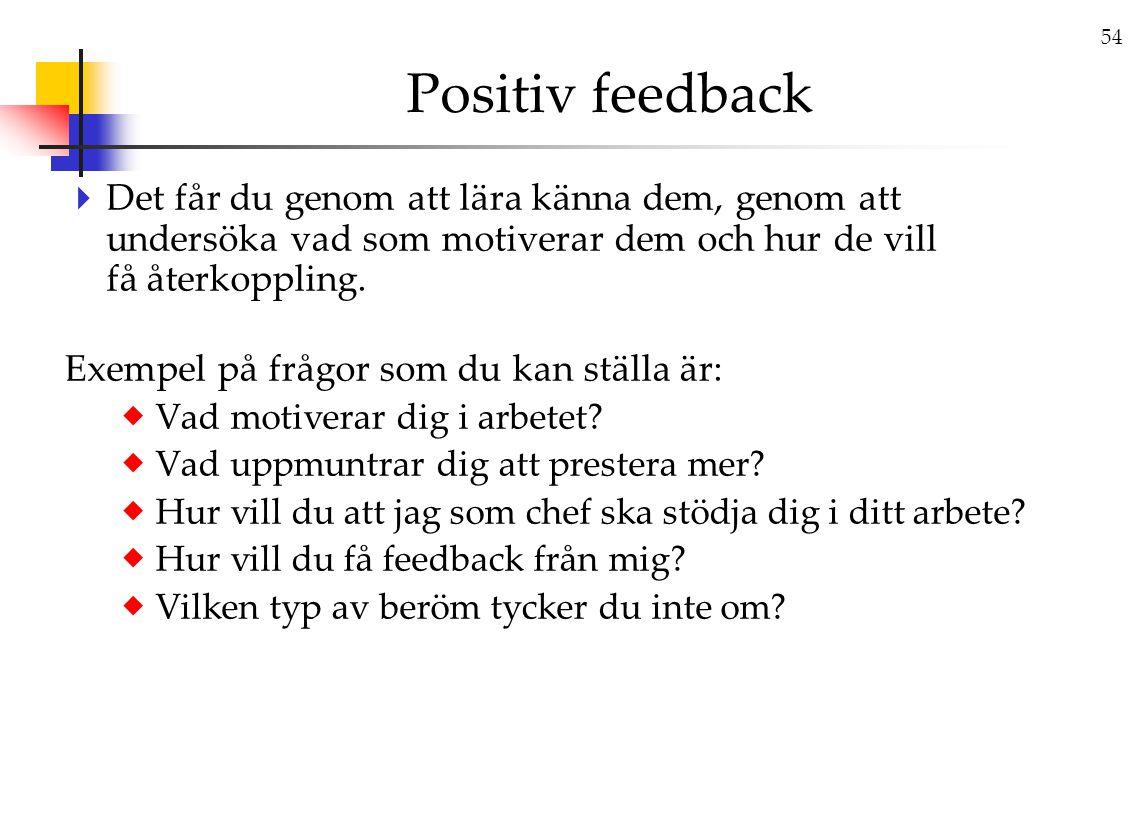 54 Positiv feedback  Det får du genom att lära känna dem, genom att undersöka vad som motiverar dem och hur de vill få återkoppling.