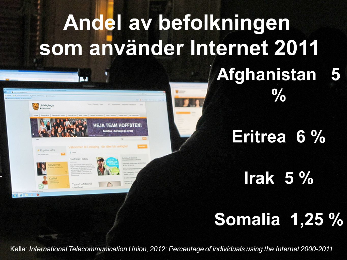 Andel av befolkningen som använder Internet 2011 Afghanistan 5 % Eritrea 6 % Irak 5 % Somalia 1,25 % Källa: International Telecommunication Union, 2012: Percentage of individuals using the Internet 2000-2011