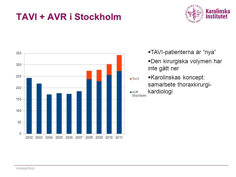 """TAVI + AVR i Stockholm Andreas Rück  TAVI-patienterna är """"nya""""  Den kirurgiska volymen har inte gått ner  Karolinskas koncept: samarbete thoraxkiru"""