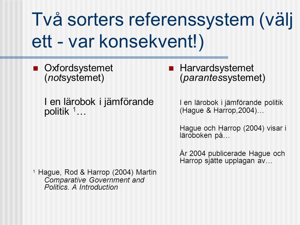 Två sorters referenssystem (välj ett - var konsekvent!)  Oxfordsystemet (notsystemet) I en lärobok i jämförande politik 1 … 1 Hague, Rod & Harrop (20
