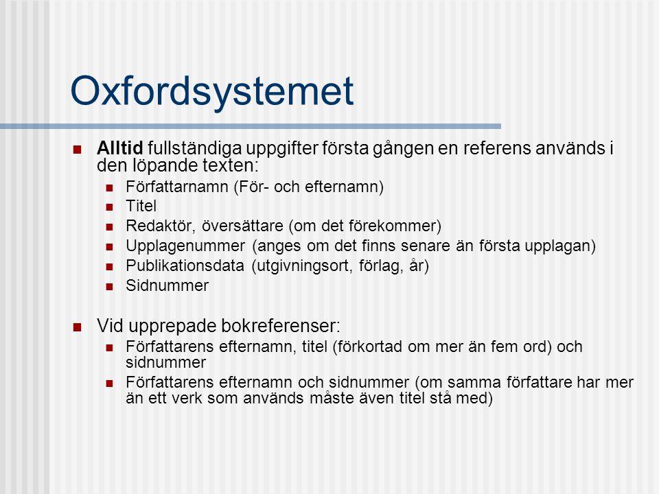 Oxfordsystemet  Alltid fullständiga uppgifter första gången en referens används i den löpande texten:  Författarnamn (För- och efternamn)  Titel 