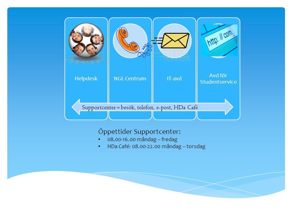 HelpdeskNGL CentrumIT-avd Avd för Studentservice Öppettider Supportcenter: • 08.00-16.00 måndag – fredag • HDa Café: 08.00-22.00 måndag – torsdag Supportcenter = besök, telefon, e-post, HDa Café