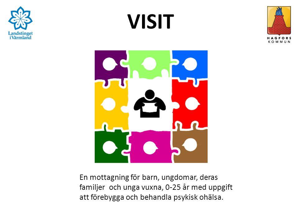 VISIT En mottagning för barn, ungdomar, deras familjer och unga vuxna, 0-25 år med uppgift att förebygga och behandla psykisk ohälsa.