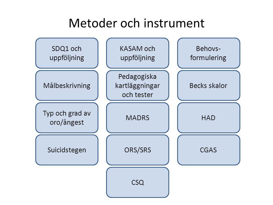 Metoder och instrument Målbeskrivning KASAM och uppföljning Behovs- formulering SDQ1 och uppföljning Pedagogiska kartläggningar och tester Becks skalo