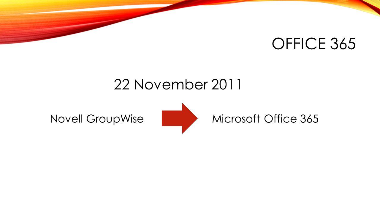 OFFICE 365 22 November 2011 Novell GroupWiseMicrosoft Office 365