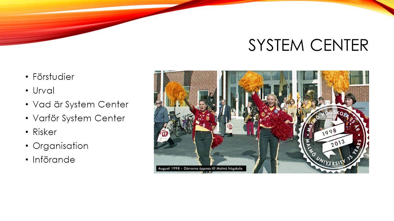 • Förstudier • Urval • Vad är System Center • Varför System Center • Risker • Organisation • Införande