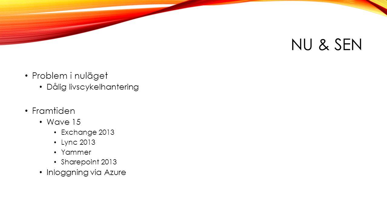 NU & SEN • Problem i nuläget • Dålig livscykelhantering • Framtiden • Wave 15 • Exchange 2013 • Lync 2013 • Yammer • Sharepoint 2013 • Inloggning via