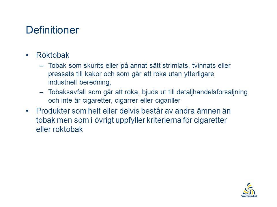 Definitioner •Röktobak –Tobak som skurits eller på annat sätt strimlats, tvinnats eller pressats till kakor och som går att röka utan ytterligare industriell beredning, –Tobaksavfall som går att röka, bjuds ut till detaljhandelsförsäljning och inte är cigaretter, cigarrer eller cigariller •Produkter som helt eller delvis består av andra ämnen än tobak men som i övrigt uppfyller kriterierna för cigaretter eller röktobak