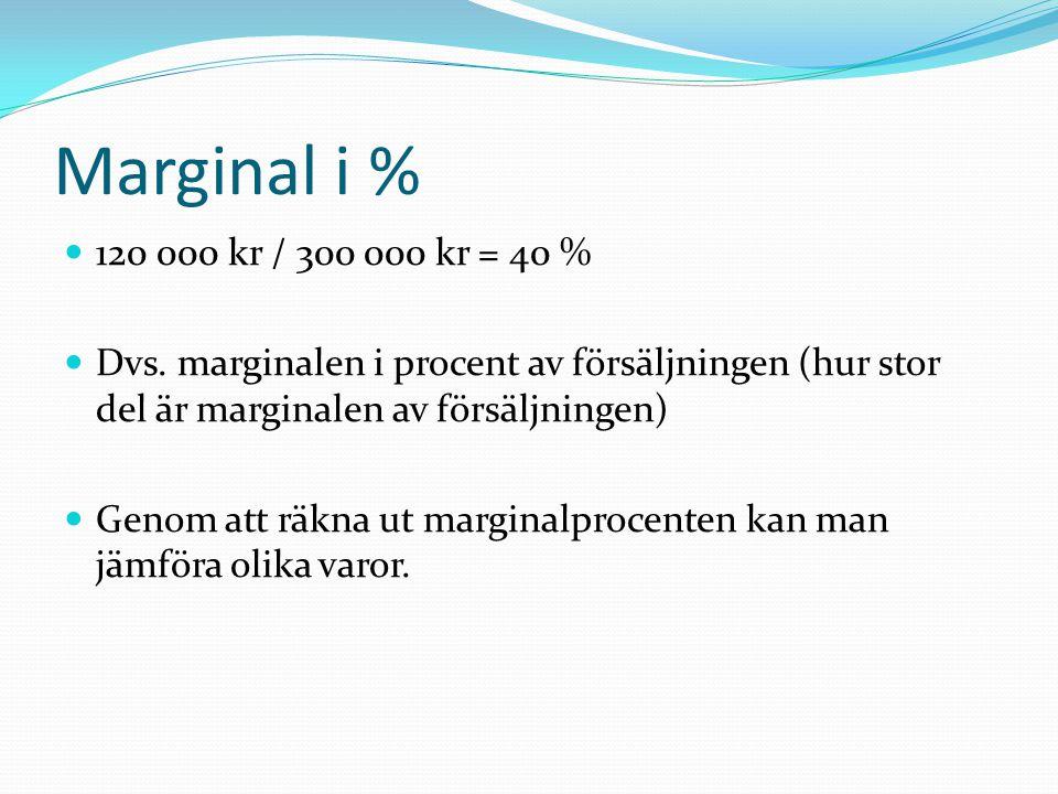 Marginal i %  120 000 kr / 300 000 kr = 40 %  Dvs. marginalen i procent av försäljningen (hur stor del är marginalen av försäljningen)  Genom att r