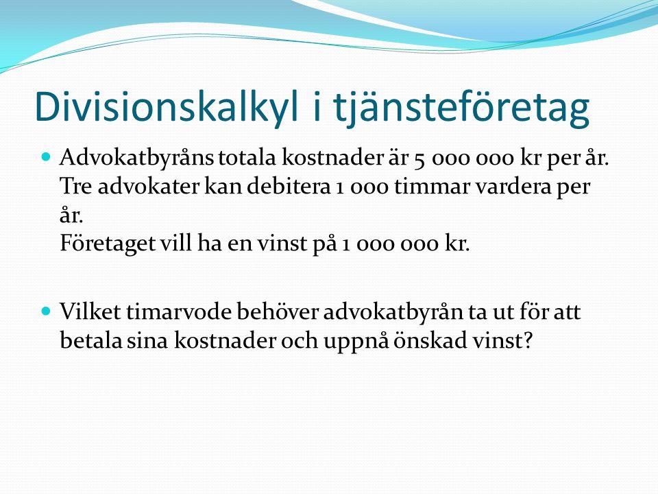 Divisionskalkyl i tjänsteföretag  Totala kostnader + Vinst= Antal timmar 5 000 000 + 1 000 000= 2 000 kr per timme 3 000