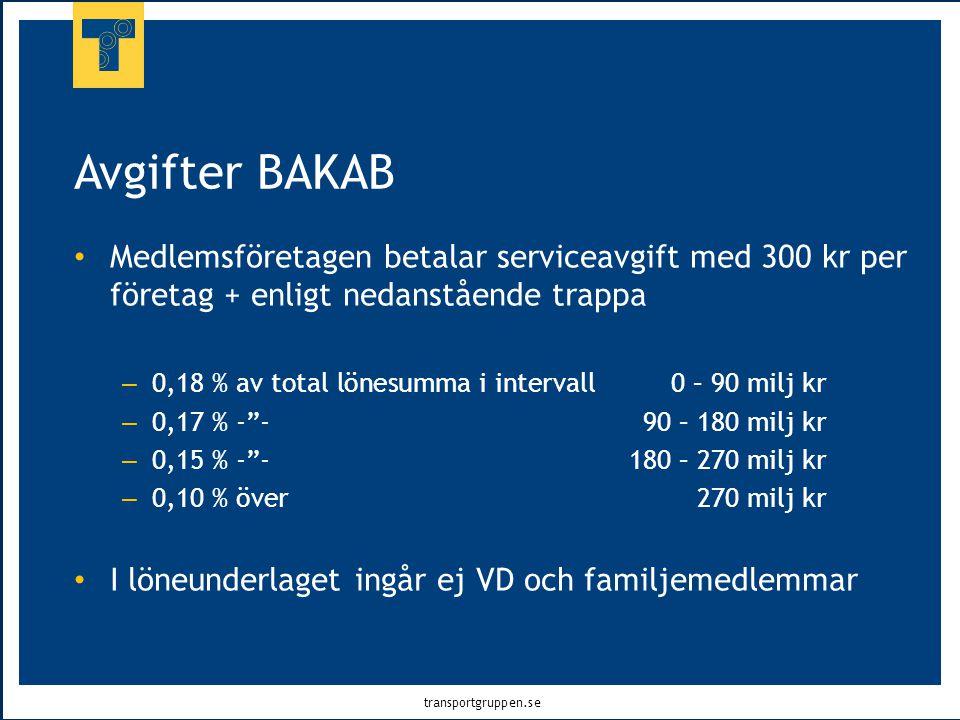 transportgruppen.se Avgifter BAKAB • Medlemsföretagen betalar serviceavgift med 300 kr per företag + enligt nedanstående trappa – 0,18 % av total löne