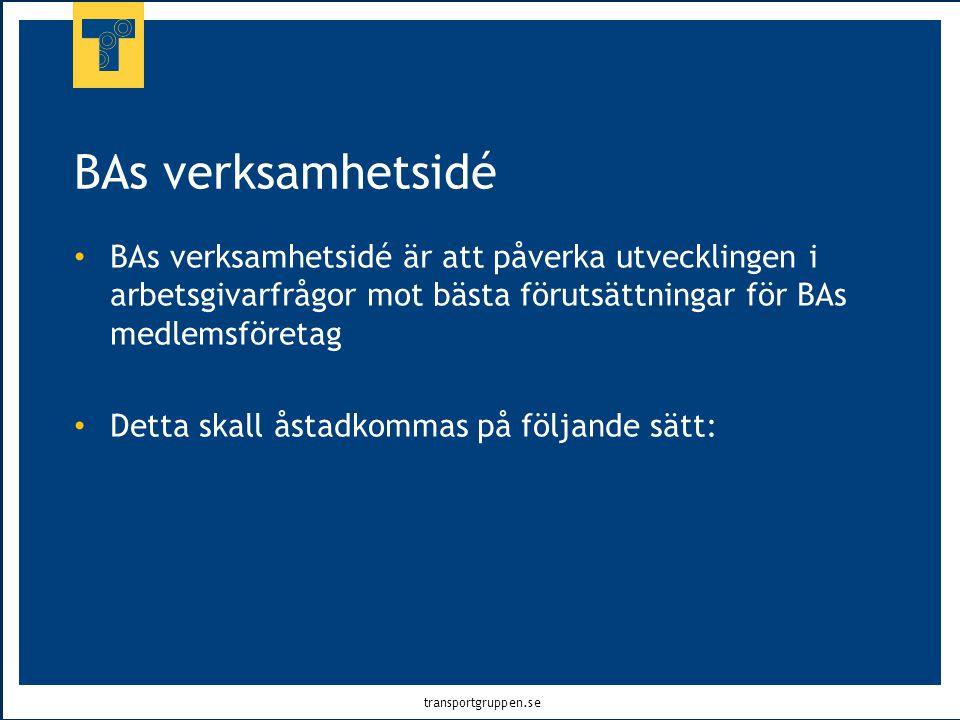 transportgruppen.se BAs verksamhetsidé • BAs verksamhetsidé är att påverka utvecklingen i arbetsgivarfrågor mot bästa förutsättningar för BAs medlemsf