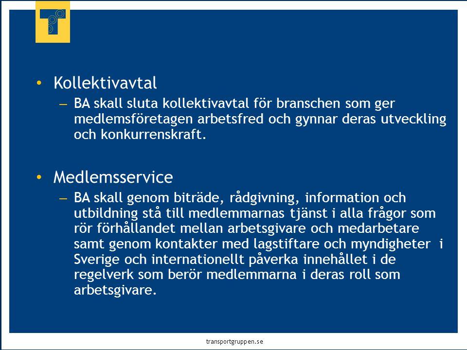 transportgruppen.se • Kollektivavtal – BA skall sluta kollektivavtal för branschen som ger medlemsföretagen arbetsfred och gynnar deras utveckling och