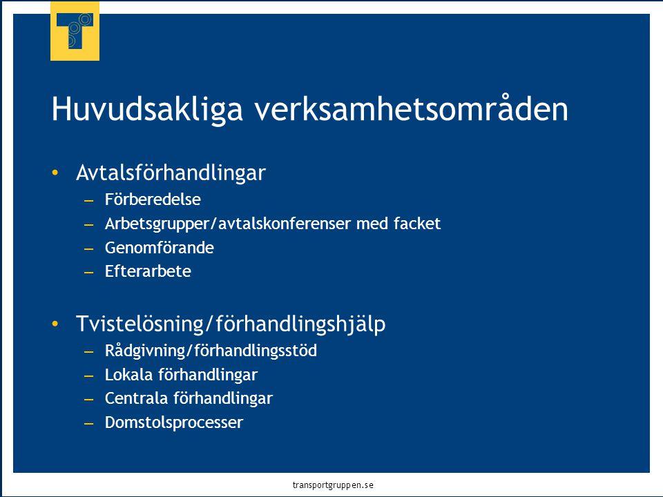transportgruppen.se Huvudsakliga verksamhetsområden • Avtalsförhandlingar – Förberedelse – Arbetsgrupper/avtalskonferenser med facket – Genomförande –