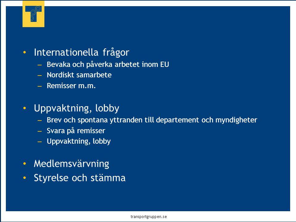 transportgruppen.se • Internationella frågor – Bevaka och påverka arbetet inom EU – Nordiskt samarbete – Remisser m.m. • Uppvaktning, lobby – Brev och