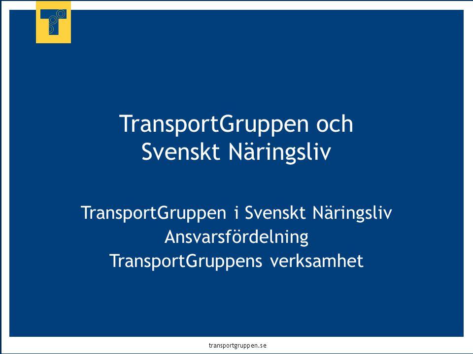 transportgruppen.se TransportGruppen och Svenskt Näringsliv TransportGruppen i Svenskt Näringsliv Ansvarsfördelning TransportGruppens verksamhet