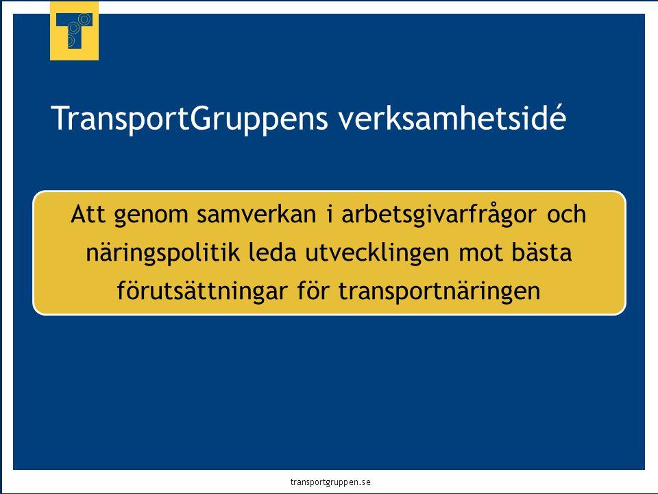 transportgruppen.se TransportGruppens verksamhetsidé Att genom samverkan i arbetsgivarfrågor och näringspolitik leda utvecklingen mot bästa förutsättn