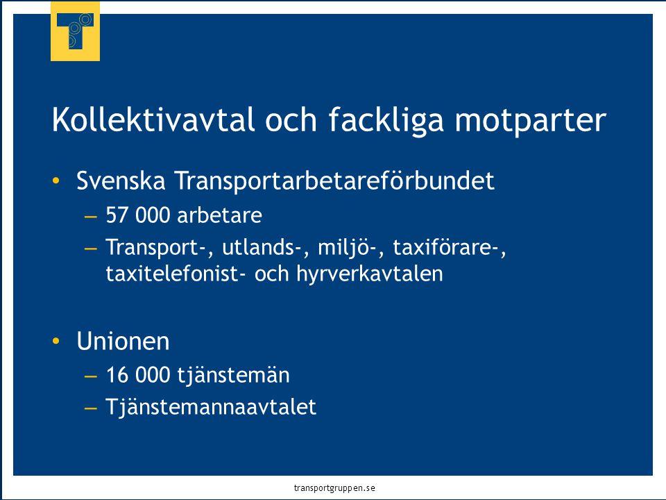 transportgruppen.se Kollektivavtal och fackliga motparter • Svenska Transportarbetareförbundet – 57 000 arbetare – Transport-, utlands-, miljö-, taxif