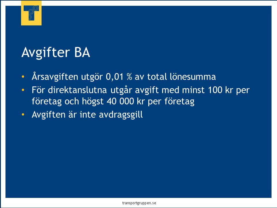 transportgruppen.se Avgifter BA • Årsavgiften utgör 0,01 % av total lönesumma • För direktanslutna utgår avgift med minst 100 kr per företag och högst