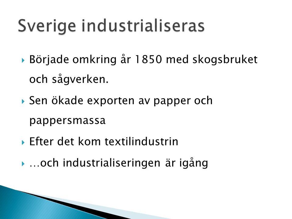  Började omkring år 1850 med skogsbruket och sågverken.  Sen ökade exporten av papper och pappersmassa  Efter det kom textilindustrin  …och indust
