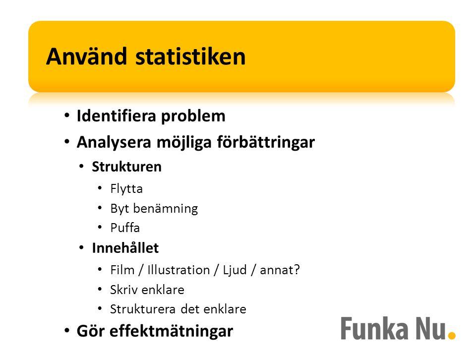 • Identifiera problem • Analysera möjliga förbättringar • Strukturen • Flytta • Byt benämning • Puffa • Innehållet • Film / Illustration / Ljud / annat.