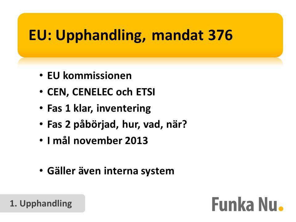 EU: Upphandling, mandat 376 • EU kommissionen • CEN, CENELEC och ETSI • Fas 1 klar, inventering • Fas 2 påbörjad, hur, vad, när.