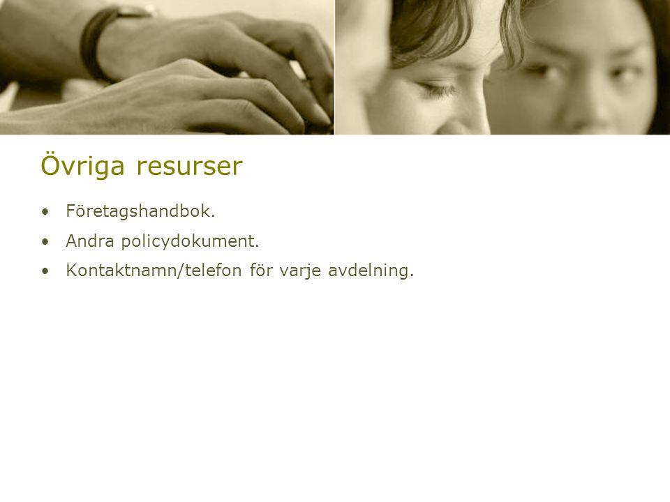 Övriga resurser •Företagshandbok. •Andra policydokument. •Kontaktnamn/telefon för varje avdelning.