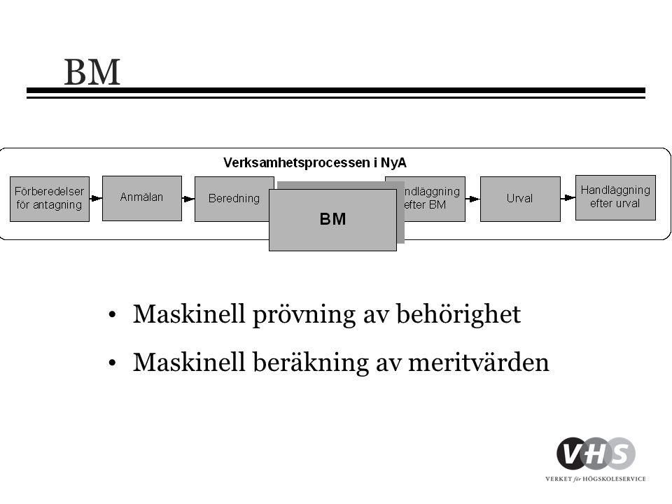 BM • Maskinell prövning av behörighet • Maskinell beräkning av meritvärden