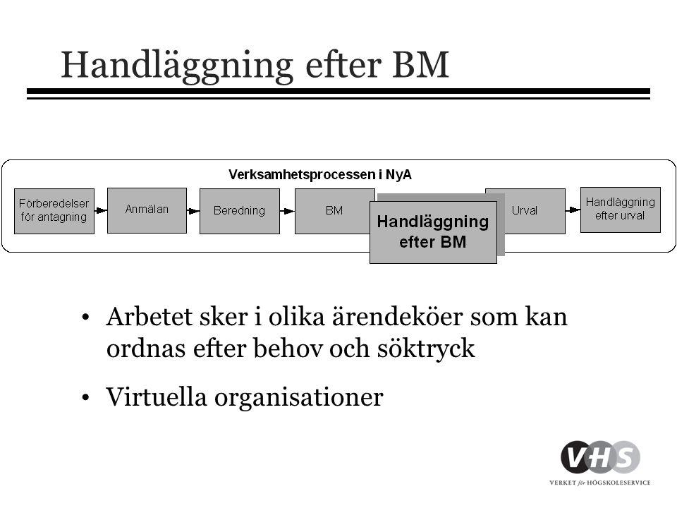 Handläggning efter BM • Arbetet sker i olika ärendeköer som kan ordnas efter behov och söktryck • Virtuella organisationer