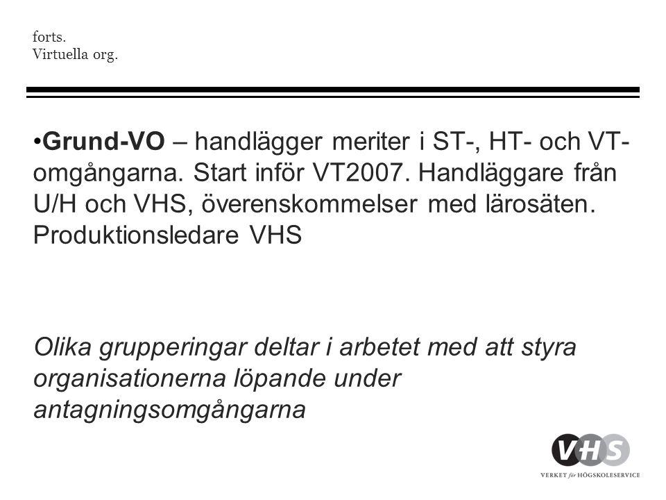 forts. Virtuella org. •Grund-VO – handlägger meriter i ST-, HT- och VT- omgångarna. Start inför VT2007. Handläggare från U/H och VHS, överenskommelser