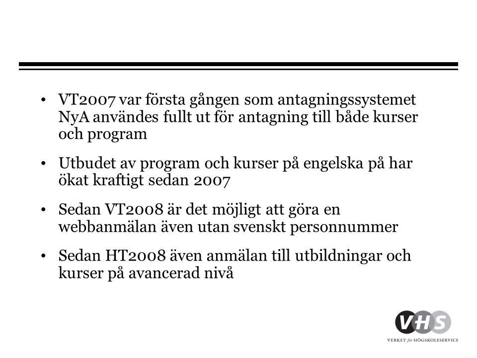 • VT2007 var första gången som antagningssystemet NyA användes fullt ut för antagning till både kurser och program • Utbudet av program och kurser på