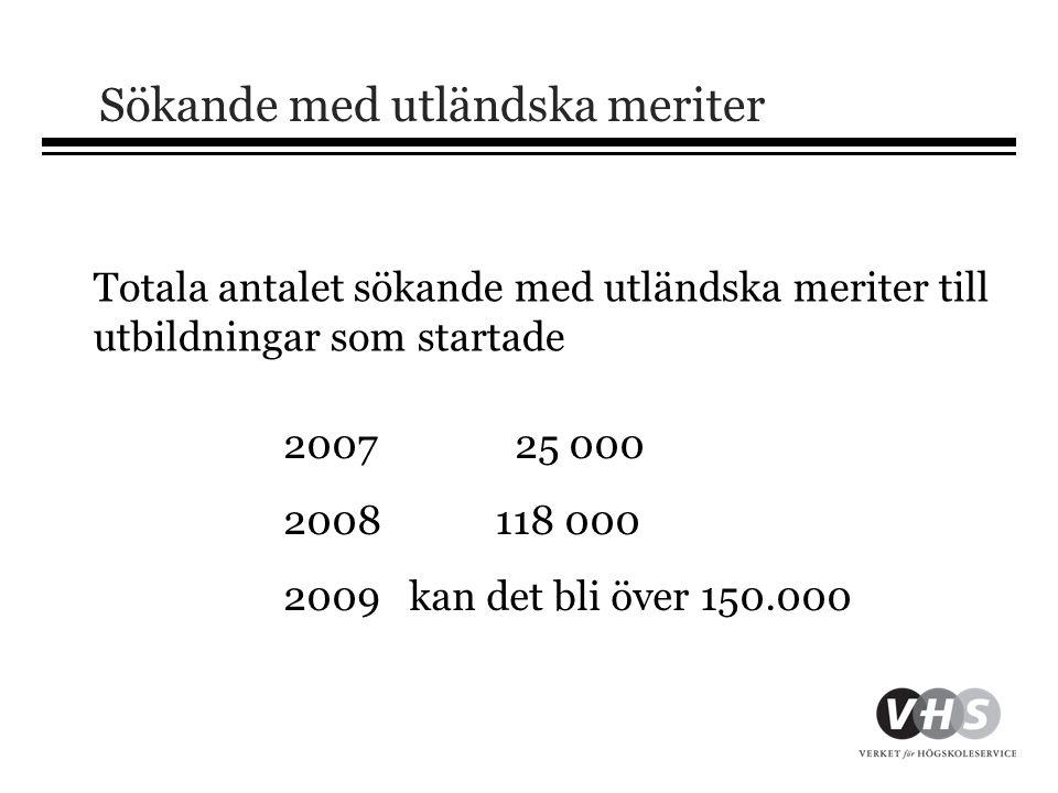 Sökande med utländska meriter 2007 25 000 2008118 000 2009 kan det bli över 150.000 Totala antalet sökande med utländska meriter till utbildningar som