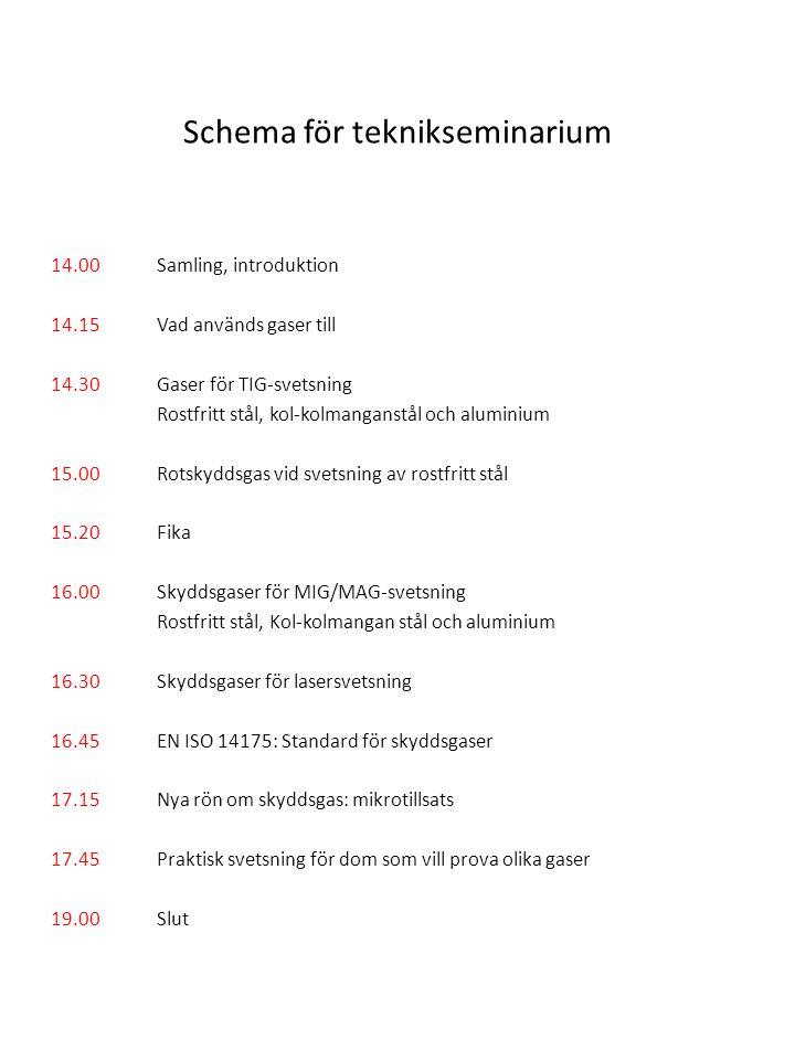 Schema för teknikseminarium 14.00Samling, introduktion 14.15Vad används gaser till 14.30Gaser för TIG-svetsning Rostfritt stål, kol-kolmanganstål och