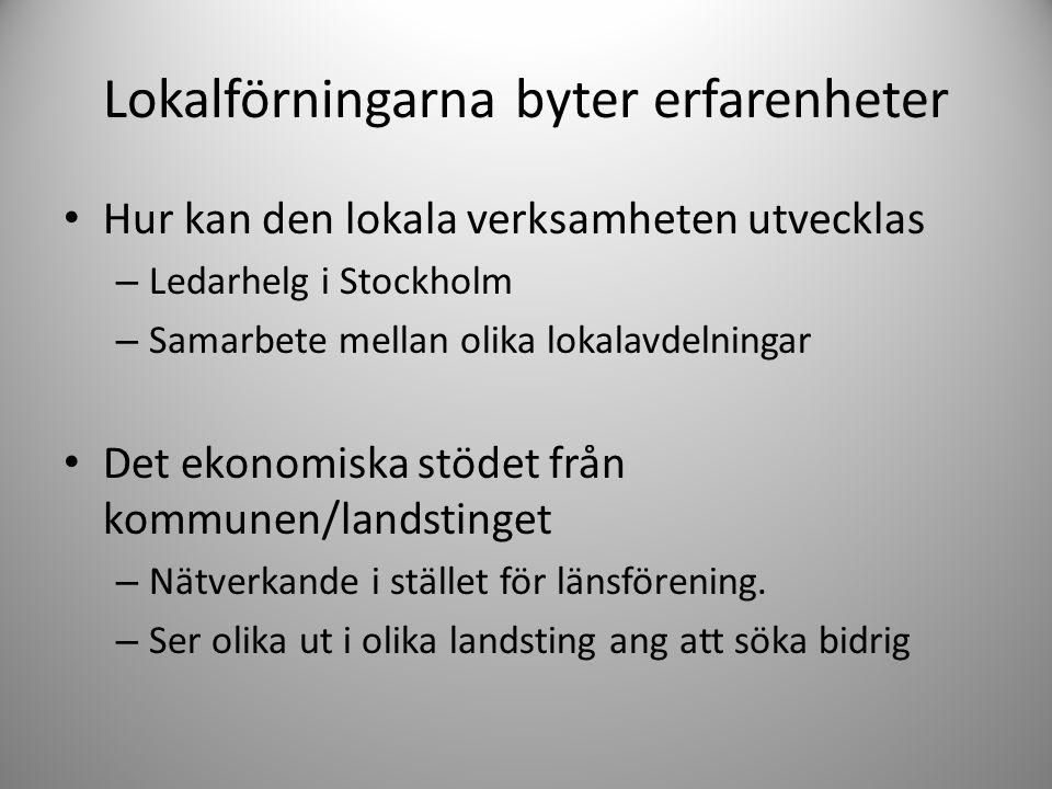 Lokalförningarna byter erfarenheter • Hur kan den lokala verksamheten utvecklas – Ledarhelg i Stockholm – Samarbete mellan olika lokalavdelningar • De