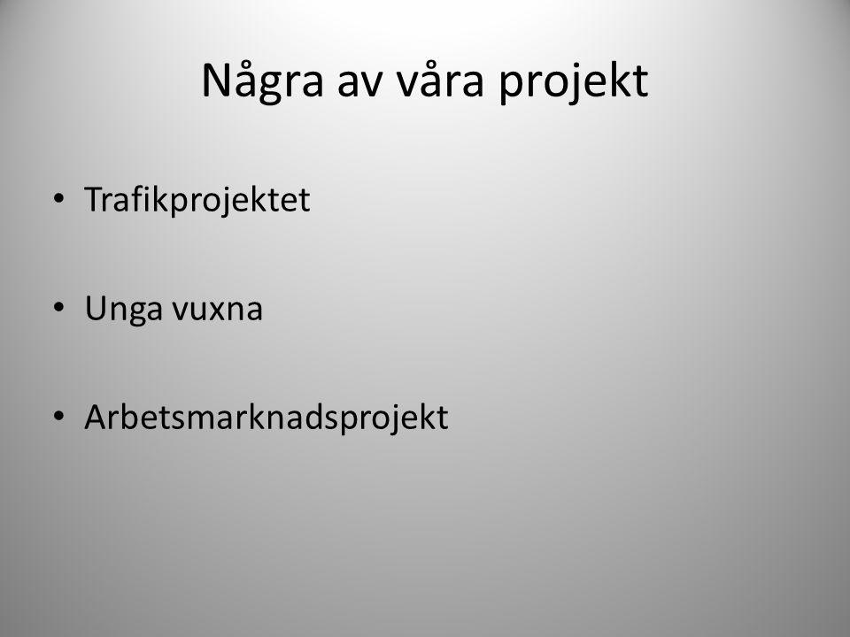 Några av våra projekt • Trafikprojektet • Unga vuxna • Arbetsmarknadsprojekt