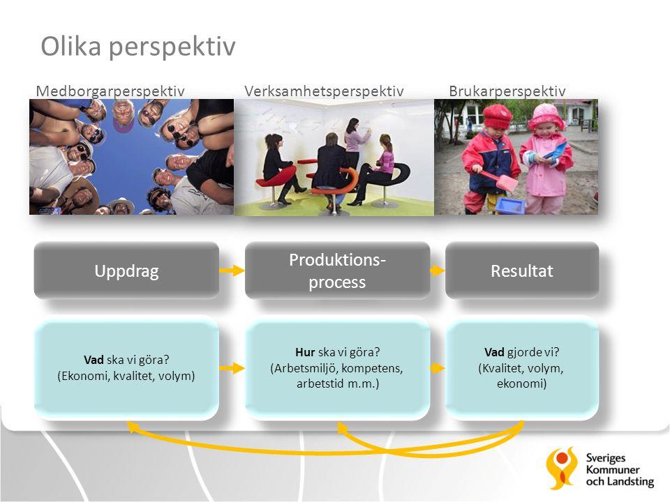 Olika perspektiv Medborgarperspektiv Verksamhetsperspektiv Brukarperspektiv Uppdrag Produktions- process Produktions- process Resultat Vad ska vi göra