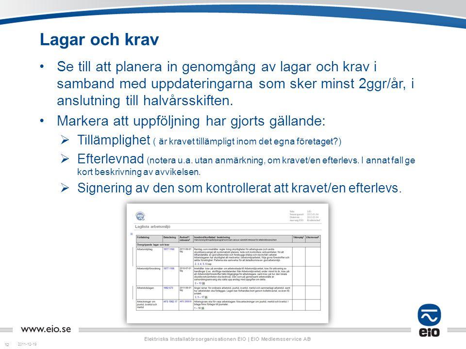12 Lagar och krav 2011-12-19 •Se till att planera in genomgång av lagar och krav i samband med uppdateringarna som sker minst 2ggr/år, i anslutning ti