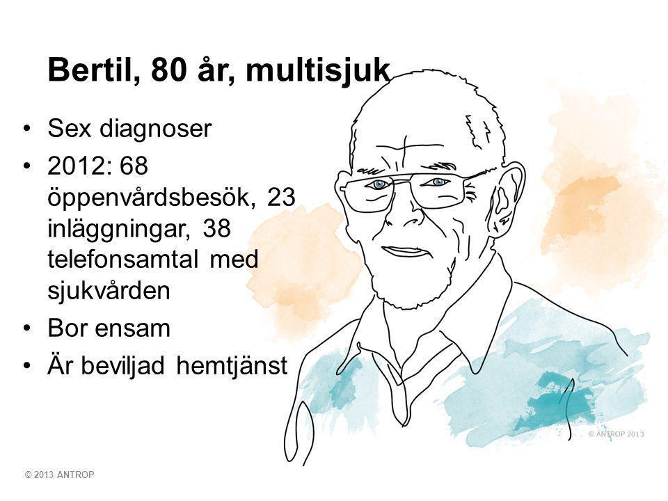 © 2013 ANTROP •Sex diagnoser •2012: 68 öppenvårdsbesök, 23 inläggningar, 38 telefonsamtal med sjukvården •Bor ensam •Är beviljad hemtjänst Bertil, 80 år, multisjuk