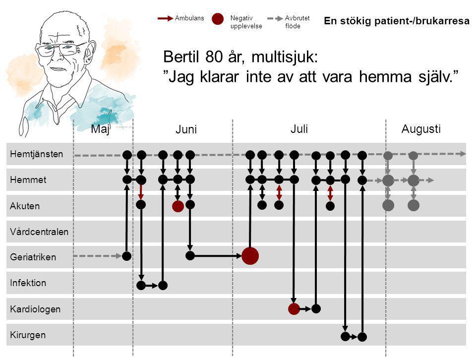 """© 2013 ANTROP Kirurgen Kardiologen Infektion Geriatriken Vårdcentralen Akuten Hemmet Hemtjänsten Maj Juni JuliAugusti Bertil 80 år, multisjuk: """"Jag kl"""