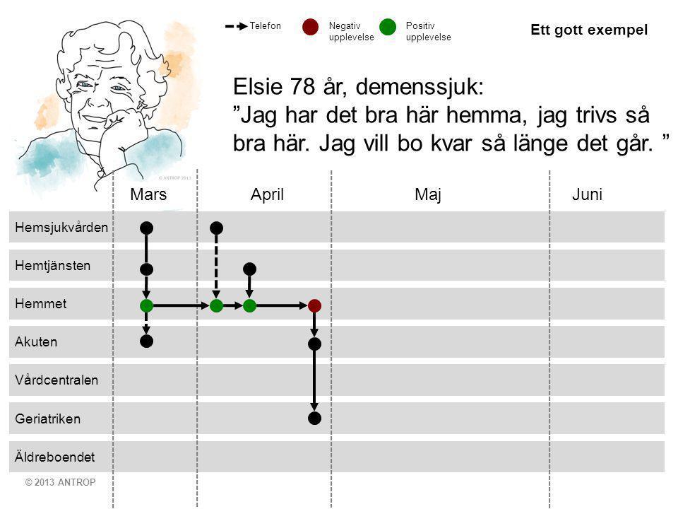 """© 2013 ANTROP Äldreboendet Geriatriken Vårdcentralen Akuten Hemmet Hemtjänsten Hemsjukvården Mars April MajJuni Elsie 78 år, demenssjuk: """"Jag har det"""