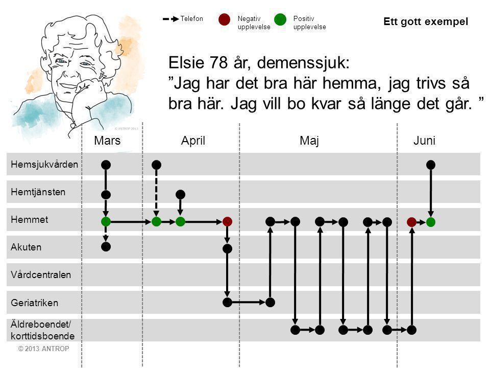 © 2013 ANTROP Äldreboendet/ korttidsboende Geriatriken Vårdcentralen Akuten Hemmet Hemtjänsten Hemsjukvården Mars April MajJuni Elsie 78 år, demenssju