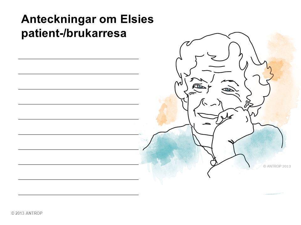 © 2013 ANTROP Anteckningar om Elsies patient-/brukarresa