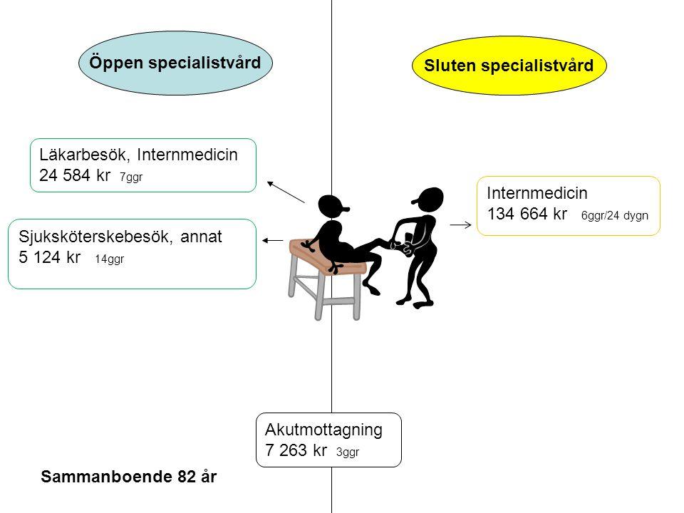 Öppen specialistvård Sluten specialistvård Sammanboende 82 år Läkarbesök, Internmedicin 24 584 kr 7ggr Sjuksköterskebesök, annat 5 124 kr 14ggr Intern