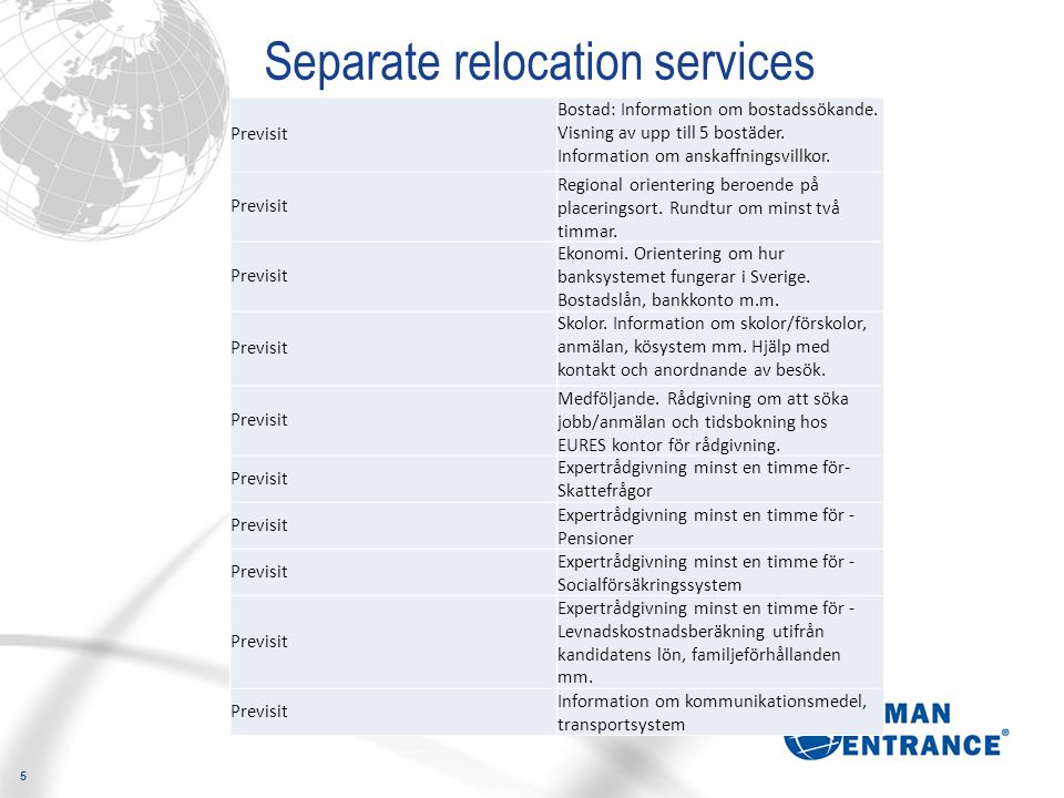 5 Separate relocation services Previsit Bostad: Information om bostadssökande.