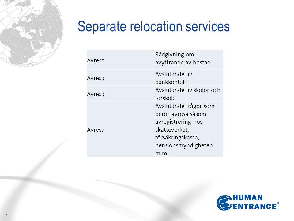 7 Separate relocation services Avresa Rådgivning om avyttrande av bostad Avresa Avslutande av bankkontakt Avresa Avslutande av skolor och förskola Avr