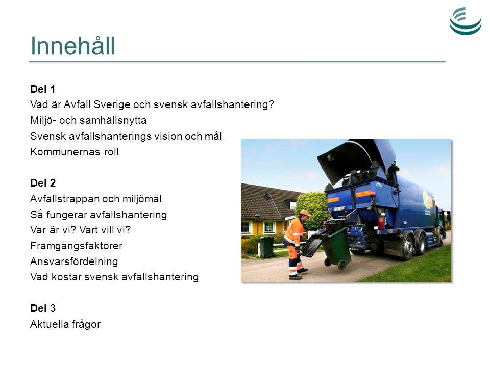 Innehåll Del 1 Vad är Avfall Sverige och svensk avfallshantering? Miljö- och samhällsnytta Svensk avfallshanterings vision och mål Kommunernas roll De